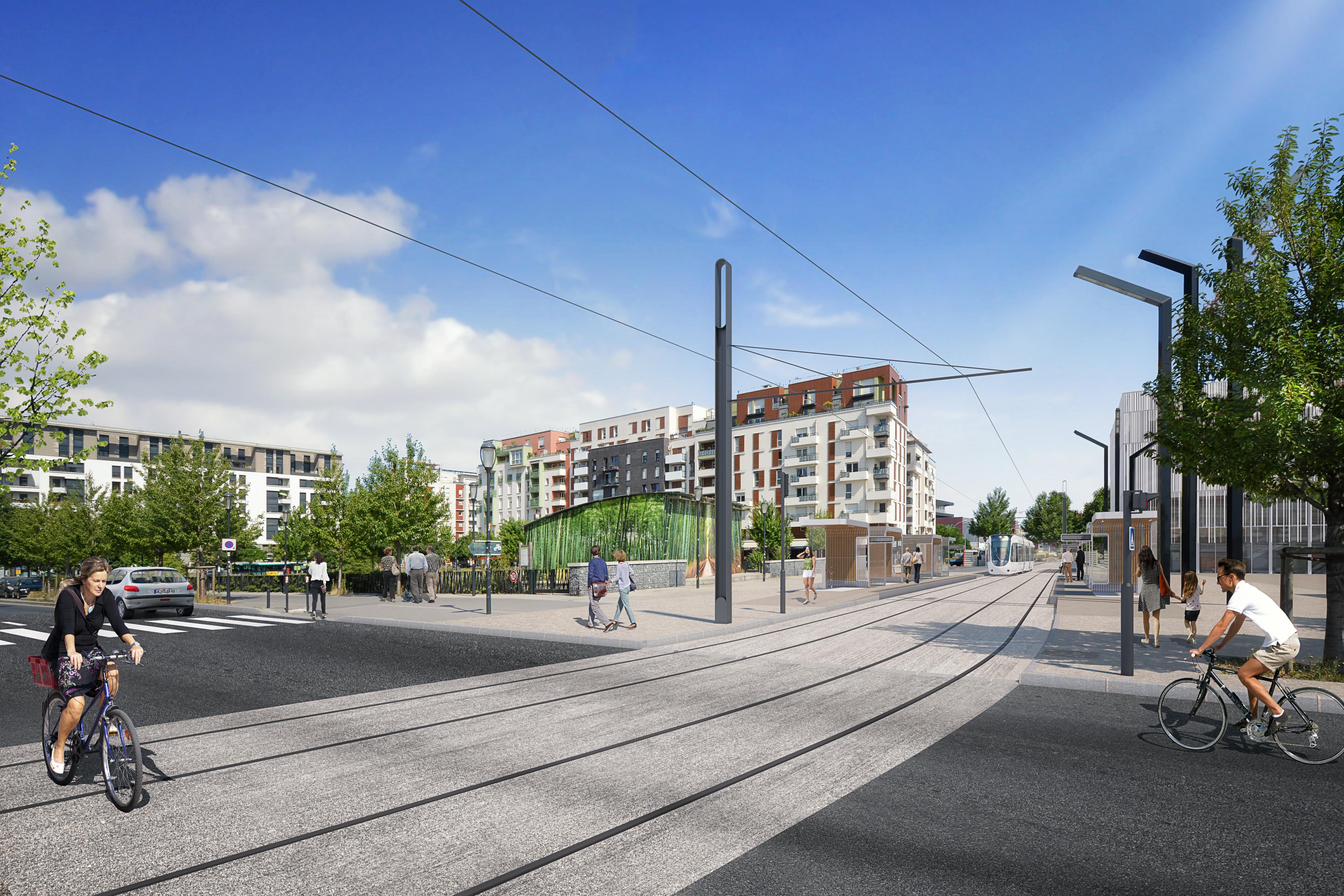 Perspective du futur tram T8 à la station Front Populaire