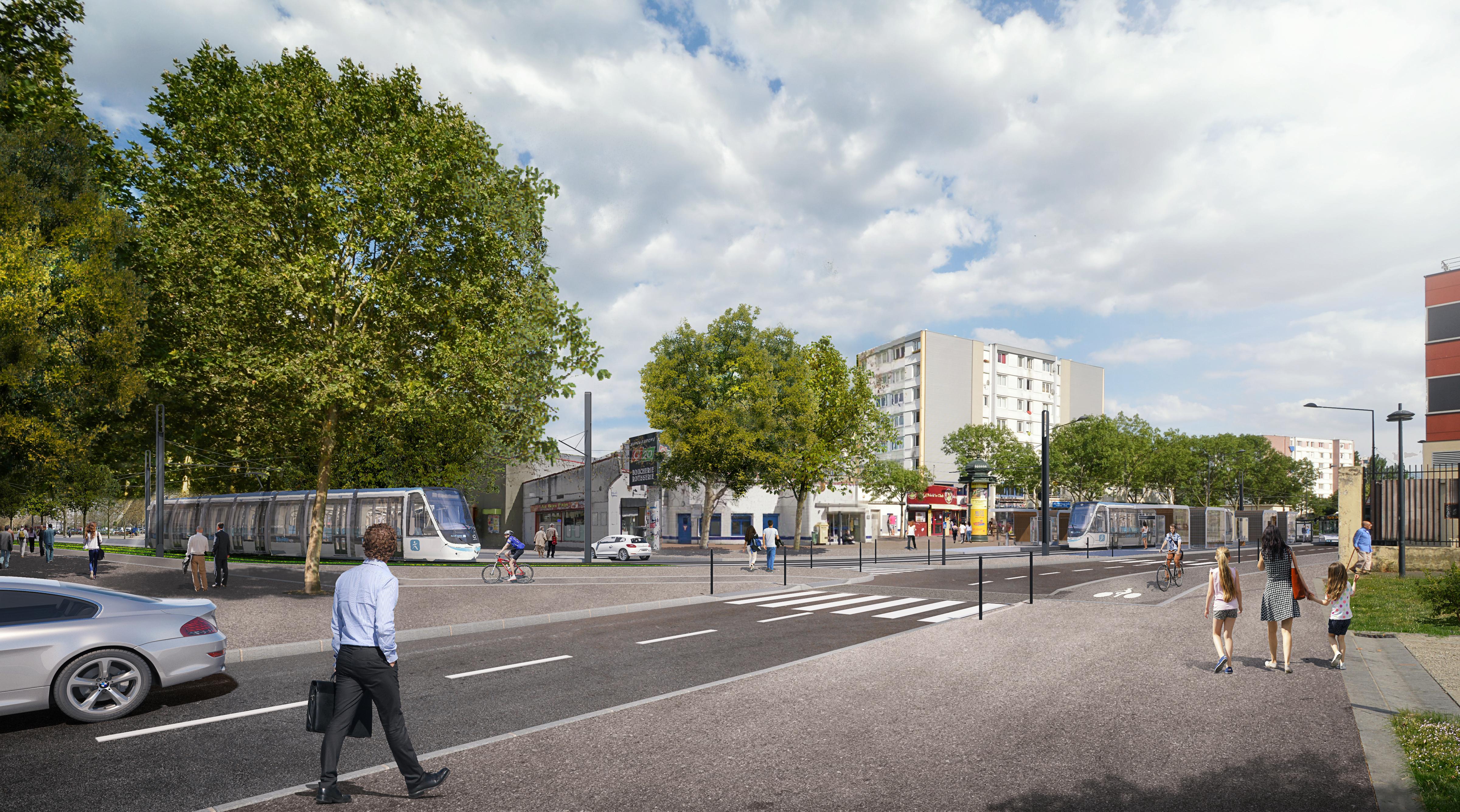 Perspective du futur tram T8 au croisement du cours du Ru de Montfort avec la rue Danielle Casanova
