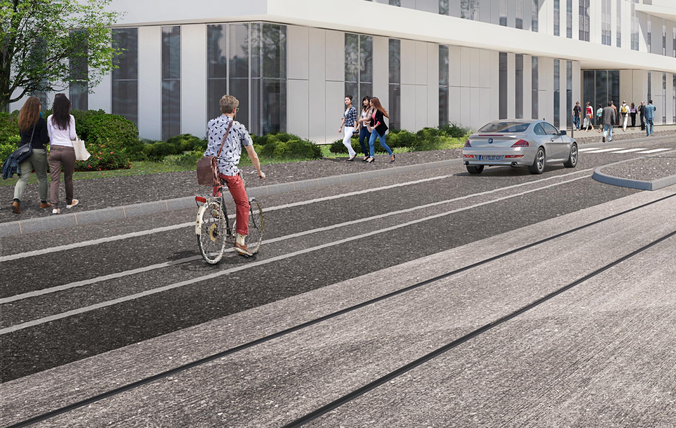 De nombreux itinéraires cyclables tout le long de l'itinéraire du prolongement du tram T8